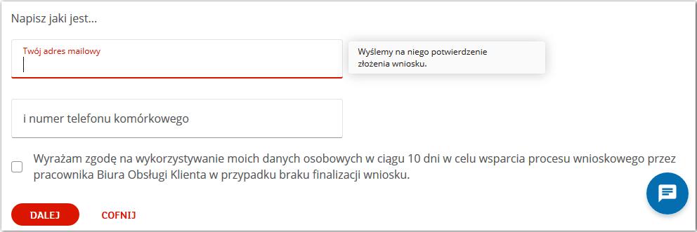 Zakładanie konta przez internet - podaj swój adres e-mail i nr telefonu