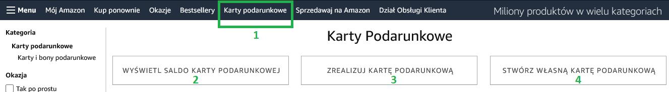 Amazon.pl - karty podarunkowe